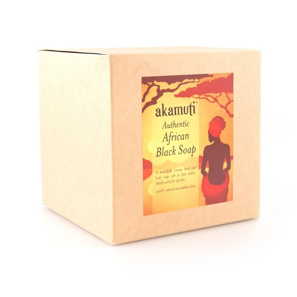 Akamuti African Black Soap Bar - Our African black soap bar has a very mild scent and a wonderful creamy lather, which leaves your skin moisturised and soft.