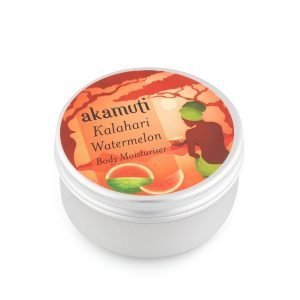 Akamuti Kalahari Watermelon Body Moisturiser - Our special recipe is an exotic blend of omega rich kalahari watermelon oil, organic extra virgin olive oil and zesty may chang, topped with organic lime and softening chamomile.