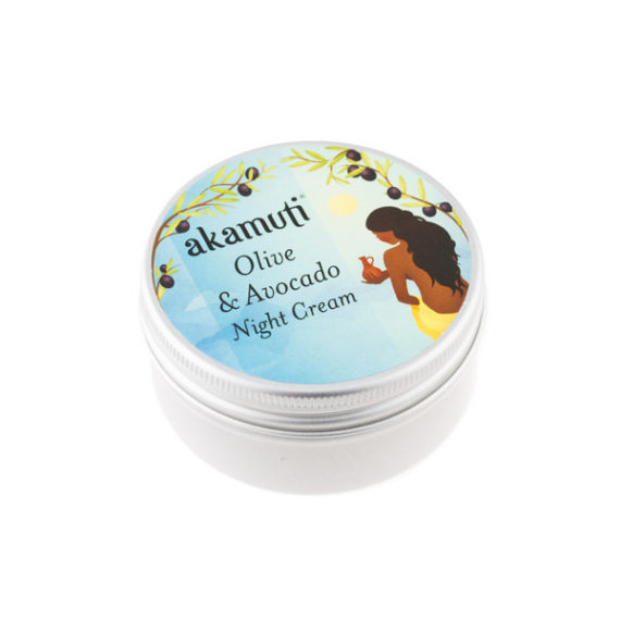 Akamuti Olive and Avocado Night Cream - This luscious night-time moisturiser is perfect for thirsty skin. It combines vitamin & protein rich avocado, with organic olive & toning hazelnut.