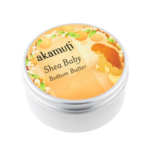 Akamuti Shea Baby Bottom Butter - Our Baby Bottom Butter is a rich combination of virgin, fair trade shea butter, enriched with the oils of peach, evening primrose andsoftening chamomile.