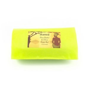 Akamuti Shea Butter and Olive Soap - Formulated for its purity and goodness, this unscented soap is made with some of our favourite oils; generous amounts of organic coconut oil, organic extra virgin olive oil and enriched with our organic shea butter.
