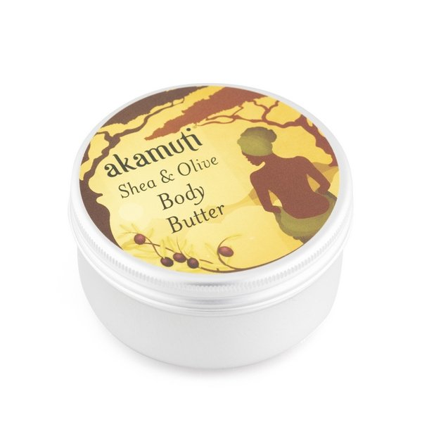Akamuti Shea & Olive Body Butter - pure and simple blend of organic shea butter and organic extra virgin olive oil.  Olive oil is rich in minerals, proteins and vitamins, especially in Vitamin E ~ which is a potent anti-oxidant.