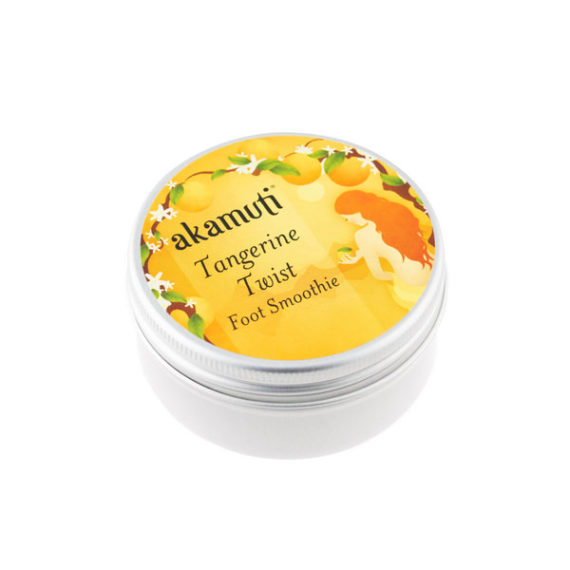Akamuti Tangerine Foot Smoothie -A completely natural foot cream, combining nourishing oils with organic beeswax. Acreamy blend of nutritious oils drizzled with tropicaltangerine essential oil.