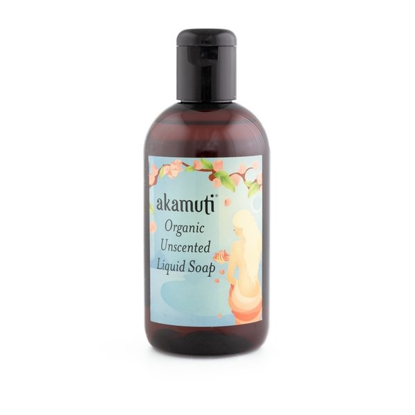 Akamuti Unscented Liquid Soap Clear - Kind and caring to the skin our unscented organic liquid soap provides gentle and effective cleansing.  Completely unscented and free from harsh chemicals and foaming agents.