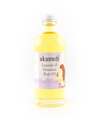 Akamuti Lavender and Geranium Body Oil - A relaxing andsoothing body oil ideal for use after a warm bath or shower to get you in the mood for bedtime.