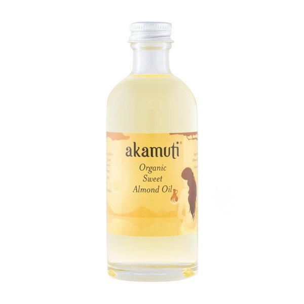 Akamuti Organic Sweet Almond Oil - A light, golden oil rich in Vit E & easily absorbed by the skin.