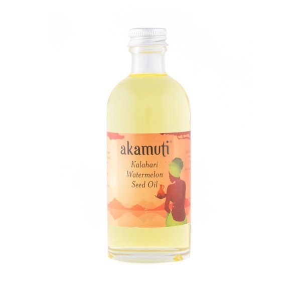 Akamuti Watermelon Seed Oil - Cold pressed from community traded Kalahari watermelon seeds, this oil is extracted by pounding the seeds by hand in wooden bowls.