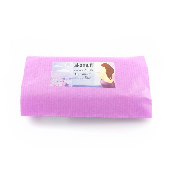 Akamuti Lavender and Geranium Soap Bar - This beautiful palm-free soap is made with our favourite organic fair trade coconut oil and creamy organic shea butter.