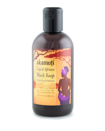Akamuti Liquid African Black Soap Scented - A beautifully creamy, natural soap that looks and feels like melted chocolate! Naturally fragranced with earthy patchouli and spicy frankincense oil to energise, cleanse and condition.
