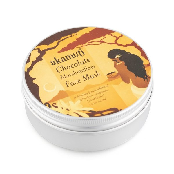 Akamuti Chocolate Marshmallow Face Mask - Our all natural recipe combines antioxidant rich cacao with crushed rose petals, nourishing pink clay and softening marshmallow. Marshmallow is a wonderful skin tonic and is superb for promoting a healthy complexion.